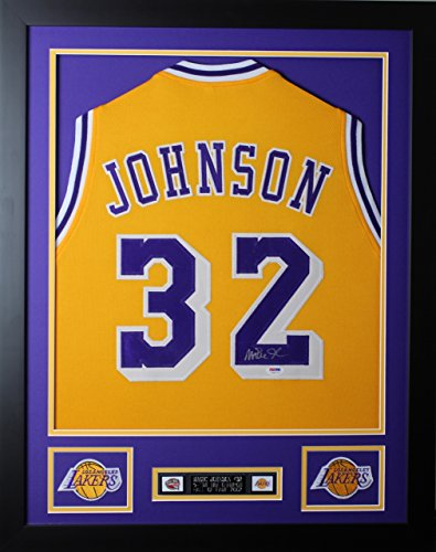 Magic Johnson Autographed and Framed Gold Lakers Jersey Auto PSA (Framed Autograph)