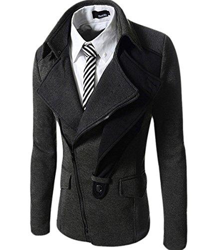 Zity Men's Casual Slim Fit Coats Zip-up Blazers Dark Grey Large (US 36)