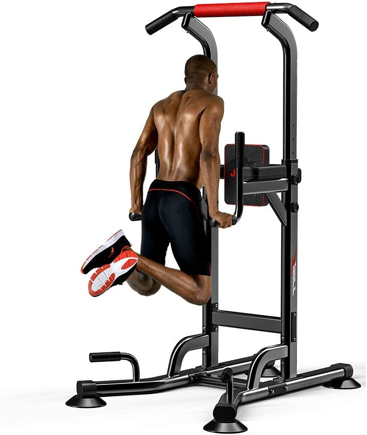 Pull Up /& Dip Stand Power Tower,Home Gym Height Adjustable Multi-Function Fitness Strength Training Equipment Exercise Workout Station