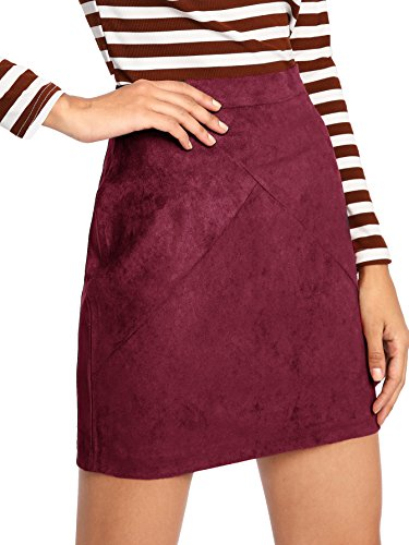 MakeMeChic Women's Zipper Back A-Line Bodycon Mini Faux Suede Skirt Burgundy M - A-line Back Zip Skirt
