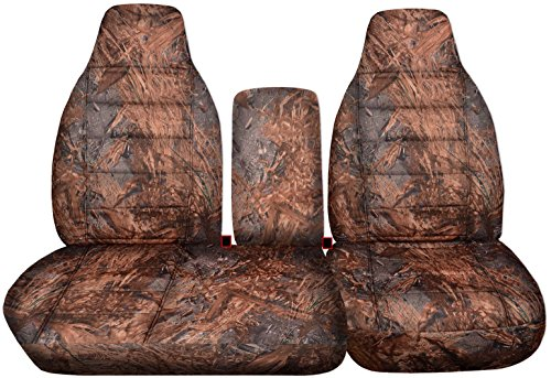 00 Ford F-150 Camo Truck Seat Covers (Front 40/60 Split Bench) Opening Center Console/Solid Armrest: Reeds Camouflage (16 Prints) 1998 1999 F-Series F150 ()