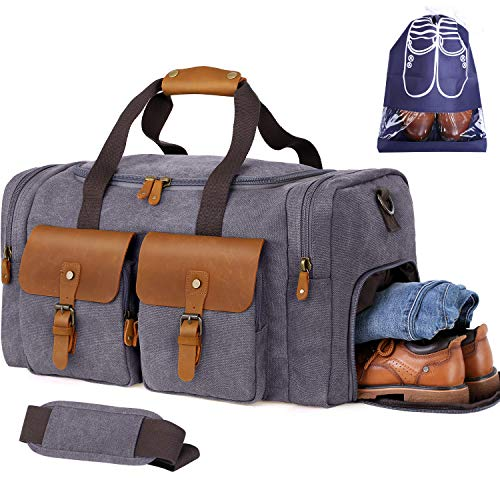 Flipzon Duffle Bag for Men Women Canvas Genuine Leather Large Duffel Bag Overnight Weekender Bag with Waterproof Shoe Compartment+Shoulder Strap with Pad, Gym Bag Travel Luggage Bag with Tag(Grey)