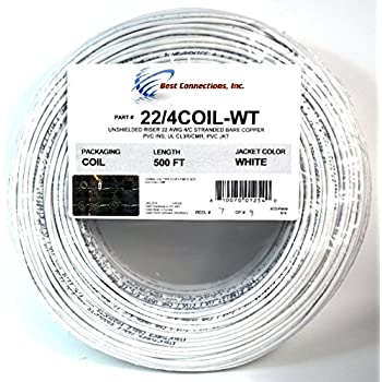 100\' ft 22 Gauge 4 Conductor Solid Security Alarm Wire Cable white ...