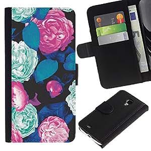 Supergiant (Begonia Mint Green Floral Vintage Retro) Dibujo PU billetera de cuero Funda Case Caso de la piel de la bolsa protectora Para Samsung Galaxy S4 Mini i9190 / i9195 (Not For S4)