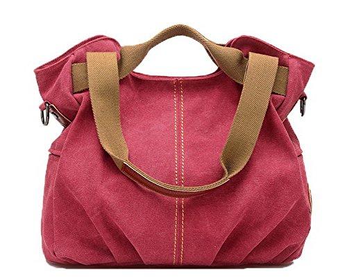 AgooLar Femme Sacs fourre-tout Achats Zippers Toile Sacs à bandoulière,GMBBB180917 Rouge