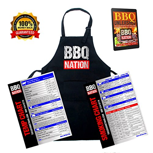 BBQ NATION New Item Economy BBQ and Grilling Apron with Meat Temperature and Smoking Chart Fridge Magnets- Plus Free BBQ Recipe Book, for The Kitchen, Camping, RV OR Motor Home
