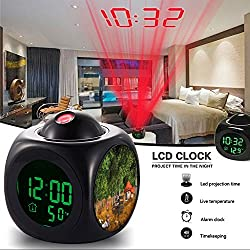 Girlsight Alarm Clock Multi-function Digital LCD Voice Talking LED Projection Wake Up Bedroom with Data and Temperature Wall/Ceiling Projection,owl-106.Fairy Tales Fairytale Forest Birch