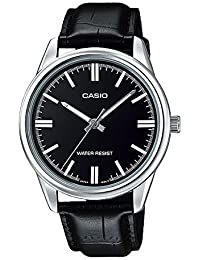 MTP-V005L-1A Men's Black Leather Dress Watch Black Dial