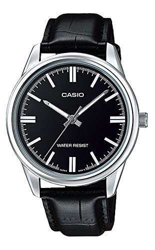 Casio MTP V005L 1A Black Leather Dress