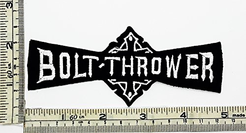 (Black White Bolt Thrower Rock Music Band Patch Embroidered Iron on Hat Jacket Hoodie Backpack Ideal for Gift)