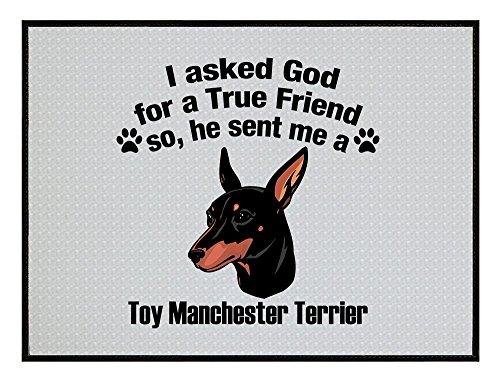 TOY MANCHESTER TERRIER DOG Asked God Friend Kitchen Door Welcome Floor Mat Nydia Morrison