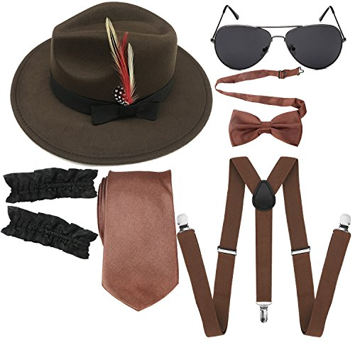 1920s Mens Manhattan Trilby Fedora Hat, Garters Armbands,Y-Back Suspenders & Pre Tied Bowtie, Gangster Sunglass (Brown) ()