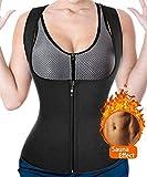 CtriLady Women Hot Sweat Neoprene Weight Loss Tank Top Shirt Waist Trainer Vest Zipper Corset Body Shaper Cincher Training Workout (Black, 3XL)