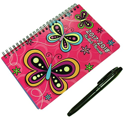 Best Butterfly & Pen Small Planner Set One Year Daily Weekly 2017 to 2018 Educational Academic Student Teacher Journal Monthly Agenda Spiral Notebook Christmas Clearance Prime Gift Idea for Women Girl (Christma Gift Ideas)