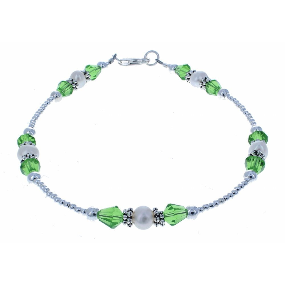 Timeless-Treasures Genuine Fresh Water Cultured Pearls, Green Czech Fire Polished Glass & Sterling Anklet w/Daisies - 11''