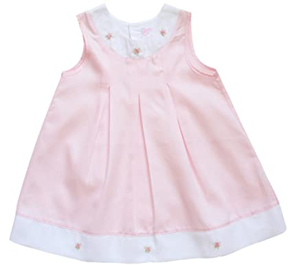 8f790217c1 Amazon.com: Fine Pink and White Hand Embroidered Baby Girls A-Line Dress:  Clothing