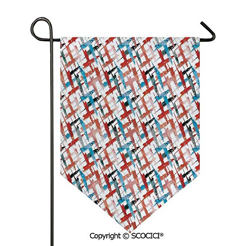 (SCOCICI Easy Clean Durable Charming 12x18.5in Garden Flag Grunge Graffiti Patterns Street Art Spray Paint Chaos of Colors Artwork,Red Blue Double Sided Printed,Flag Pole NOT Included)