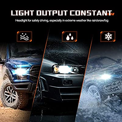 SEALIGHT 9006 LED Headlight Bulb, HB4 LED Bulb, Low Beam, Fog Light, Compact Fanless Design, 6500 Lumens, 6000K Cool White, 12 CSP Chips: Automotive