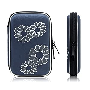 """Xcessor Protectron T5 2.5"""" Inch Portable Case For Hard Drive HDD. Protective Bag With Flower Texture. Blue"""