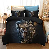 HyUkoa Colorful Skull Bedding Mexican Day of The Dead Couple Set Heart Kiss Decorative 2 Piece Bedding Set with 1 Pillow Shams (Without Comforter) EU King Size