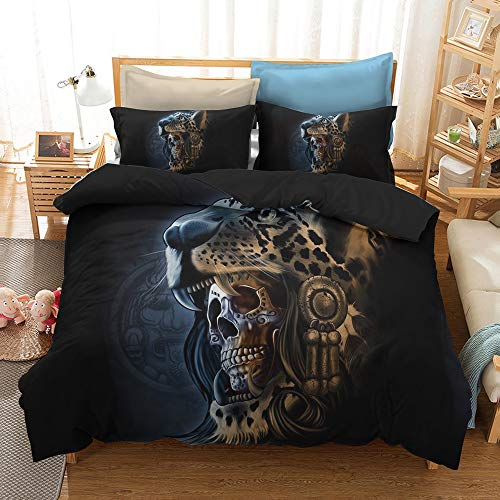 HyUkoa Colorful Skull Bedding Mexican Day of The Dead Couple Set Heart Kiss Decorative 2 Piece Bedding Set with 1 Pillow Shams (Without Comforter) EU King Size by HyUkoa