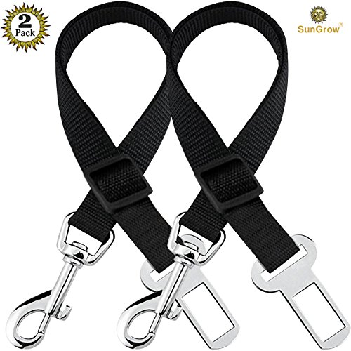 2 Adjustable Car Seat Belts for Dogs & Cats --- Triple the survival rate in accidents - Prevent stress from travel in kennel - Allow breathing fresh air without pets jumping out - Support all cars (Car Kennels For Dogs)
