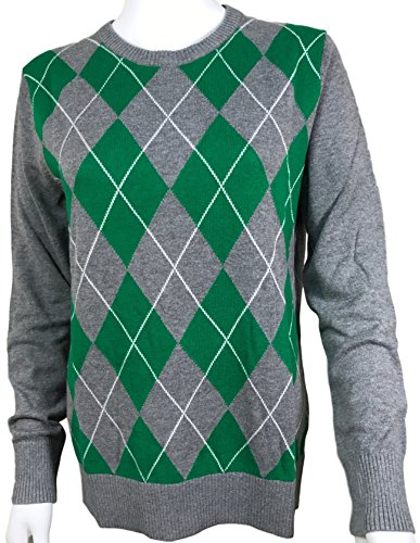 (Masked Brand Merona Women's Long Sleeve Crew Neck Pullover Sweater (X-Large, Grey/Green Plaid))