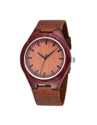 JYY Men Women Luxury Brand Leather Strap Wooden Bangle Quartz Dress Wrist watch (Coffee Red)