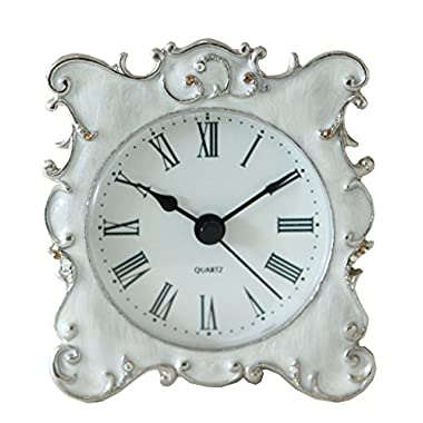 NIKKY HOME Pewter Pretty Small and Cute Table Clock with Quartz Analog Crystal Rhinestone 3'' for Living Room Bathroom Decoration , White Enamel