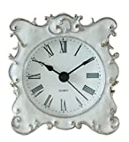 NIKKY HOME Pewter Small and Cute Table Clock with Quartz Analog Crystal Rhinestone 8 x 7x 3 CM, White Enamel