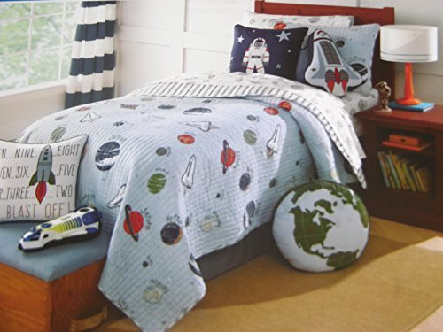 Charles Street Space Planets and Rockets Reversible Blue Stripes TWIN Quilt by Charles Street