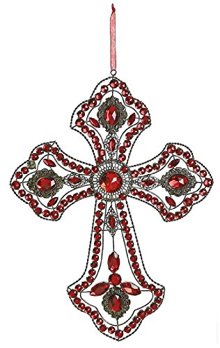 - Christian Cross 14in x 9in in Crystal and Gold Metal Filigree Frame CHOICE OF WHITE PEARL OR ALL CRYSTAL ACCENTS (Ruby and Gold)