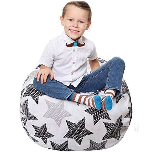Stuffed Animal Storage Bean Bag - Cover Only - Large Beanbag Chairs for Kids - 90+ Plush Toys Holder and Organizer for Boys and Girls - 100% Cotton Canvas - Hatch Stars