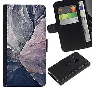 WINCASE (No Para S3 i9300) Cuadro Funda Voltear Cuero Ranura Tarjetas TPU Carcasas Protectora Cover Case Para Samsung Galaxy S3 MINI 8190 - montaña gris textura acantilado escalada
