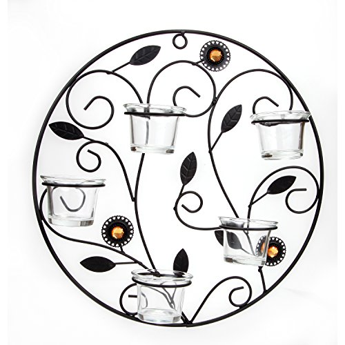 Lily's Home Tealight Wall Sconce, Hanging Metal Decor Art for 5 -