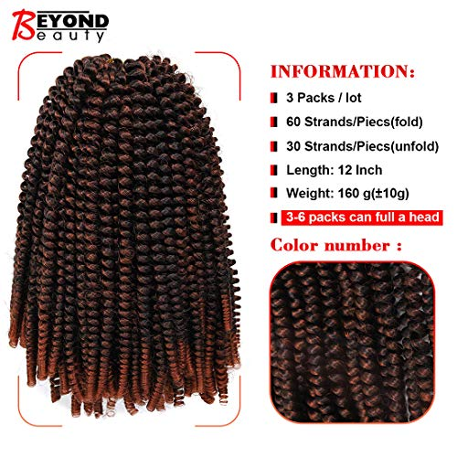 12 inch Spring Twist Crochet Braids Hair for Butterfly Locs Bomb Twist Crochet Hair Beyond Beauty Ombre Colors Synthetic Fluffy Hair Extension 3 Packs(12 Inch, M1B 350)