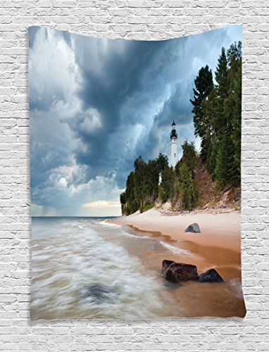 Ambesonne Lighthouse Decor Collection, Au Sable Lighthouse in Pictured Rock National Lakeshore Michigan USA Picture, Bedroom Living Room Dorm Wall Hanging Tapestry, Cloudy Blue Ivoy (Big Sable Lighthouse)