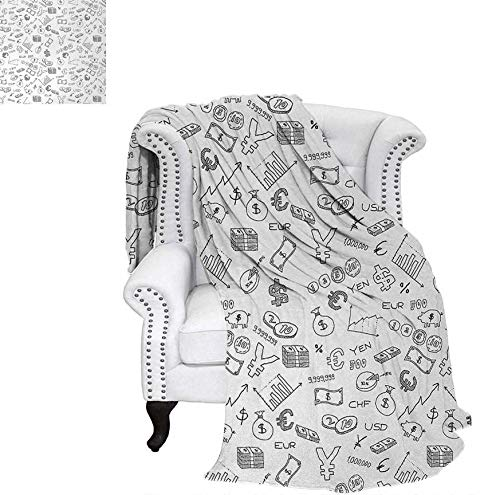 Custom Design Cozy Flannel Blanket Monochrome Pattern with Euro Dollar Yen Symbols Coins Piggy Bank Stock Graphs Doodle Weave Pattern Blanket 62