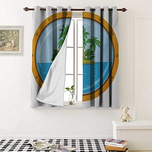Island Customized Curtains Graphic of Tropic Island View from The Bronze Ship Window with Palm Trees Curtains for Kitchen Windows W63 x L45 Inch Blue Green Orange