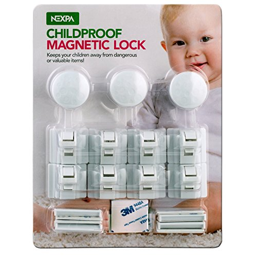 Nexpa Childproof Magnetic Cabinet Locks - 3 Keys + 8 Locks + 8 Key Bases + Extra 3M - Baby & Child Proof Safety Locks for Cabinets & Drawers - Easy Installation, Drill-Free - For Child / Baby Proofing 3 Drawer Dresser Base