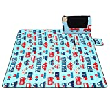 Ultrafun Extra Large Fleece Picnic Blanket Foldable Camping Mat with Waterproof Backing 79''x79'', Suitable for 4-6 Adults (Cartoon)
