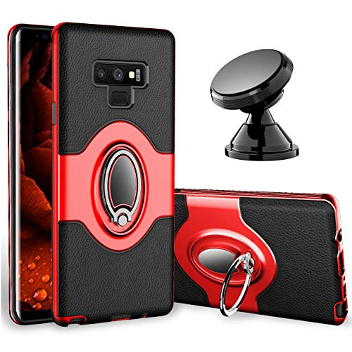 Samsung Galaxy Note 9 Case - eSamcore Ring Holder Kickstand Cases + Dashboard Magnetic Phone Car Mount [RED]