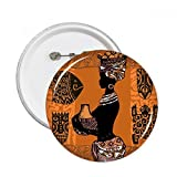 African Primitive Aboriginal Black Women Totems Round Pins Badge Button Clothing Decoration Gift 5pcs