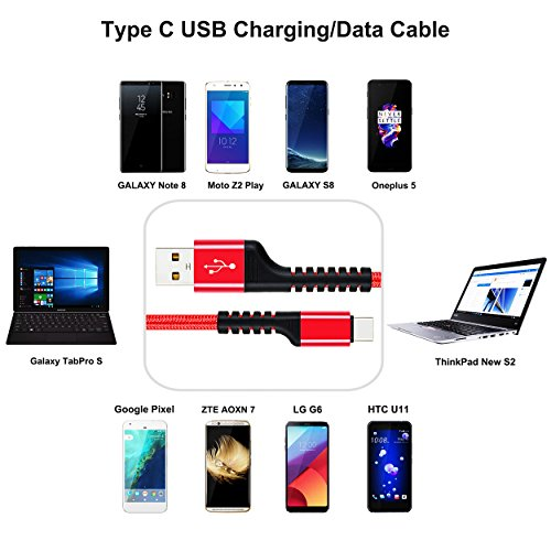 outlet USB C Charger Cable, UNISAME 10Ft Heavy Duty Braided Reversible Type C to USB 2.0 Data Sync Charging Extension Cable for Galaxy Note 8 S8 Plus S9 S9+, LG G6 G5 V20 Nexus 6P 5X Oneplus 3 5