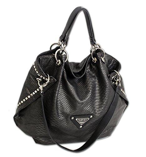 Jennifer Jones Taschen Damen Damentasche Handtasche Schultertasche Umhängetasche Tasche groß XL Hobo Bag schwarz (3445)