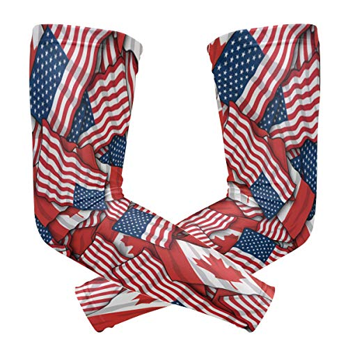 Cooling Warmer Arm Sleeves Unisex Canadian American Flag Golf UV Protection Sunblock Gloves Running Cycling Driving Long Tattoo Cover for Basketball Baseball