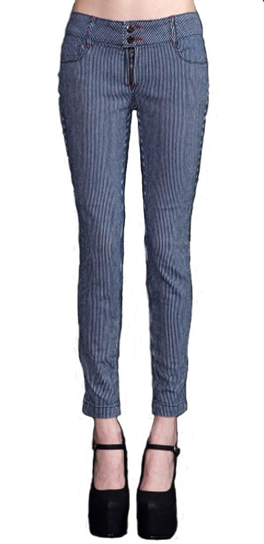 NYDJ Womens Nichelle Rolled Cuff Ankle Jeans in Railroad Stripe Denim