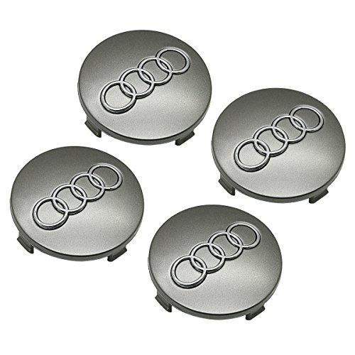 4 x Audi Gray Emblem Logo Badge Hub Wheel Rim Center Cap 60mm Set of 4 For Audi A3 A4 A5 A6 A8 S4 RS6 (Audi Wheels Rims)
