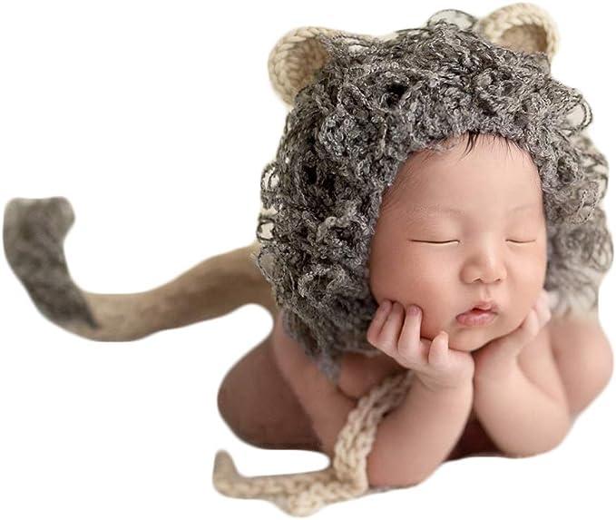 Amazon.com: Bebé Fotografía Props León Sombreros Cola recién ...
