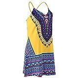 Womens Boho Beach Dress - Floral Spaghetti Strap